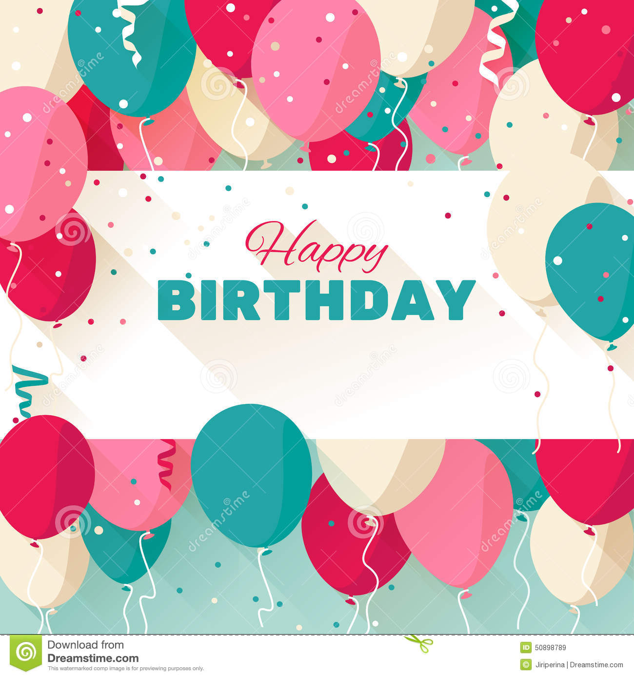 Happy Birthday Greeting Card In A Flat Style Stock