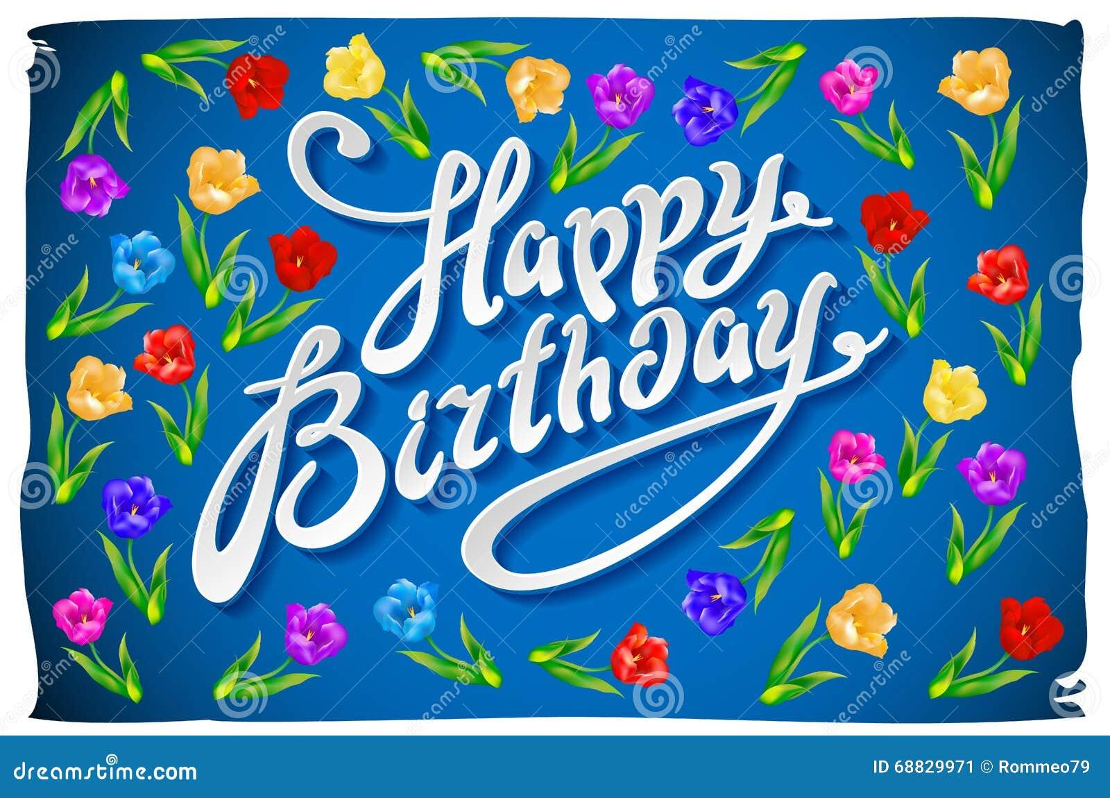 Happy Birthday Greeting Card With Flowers Birds