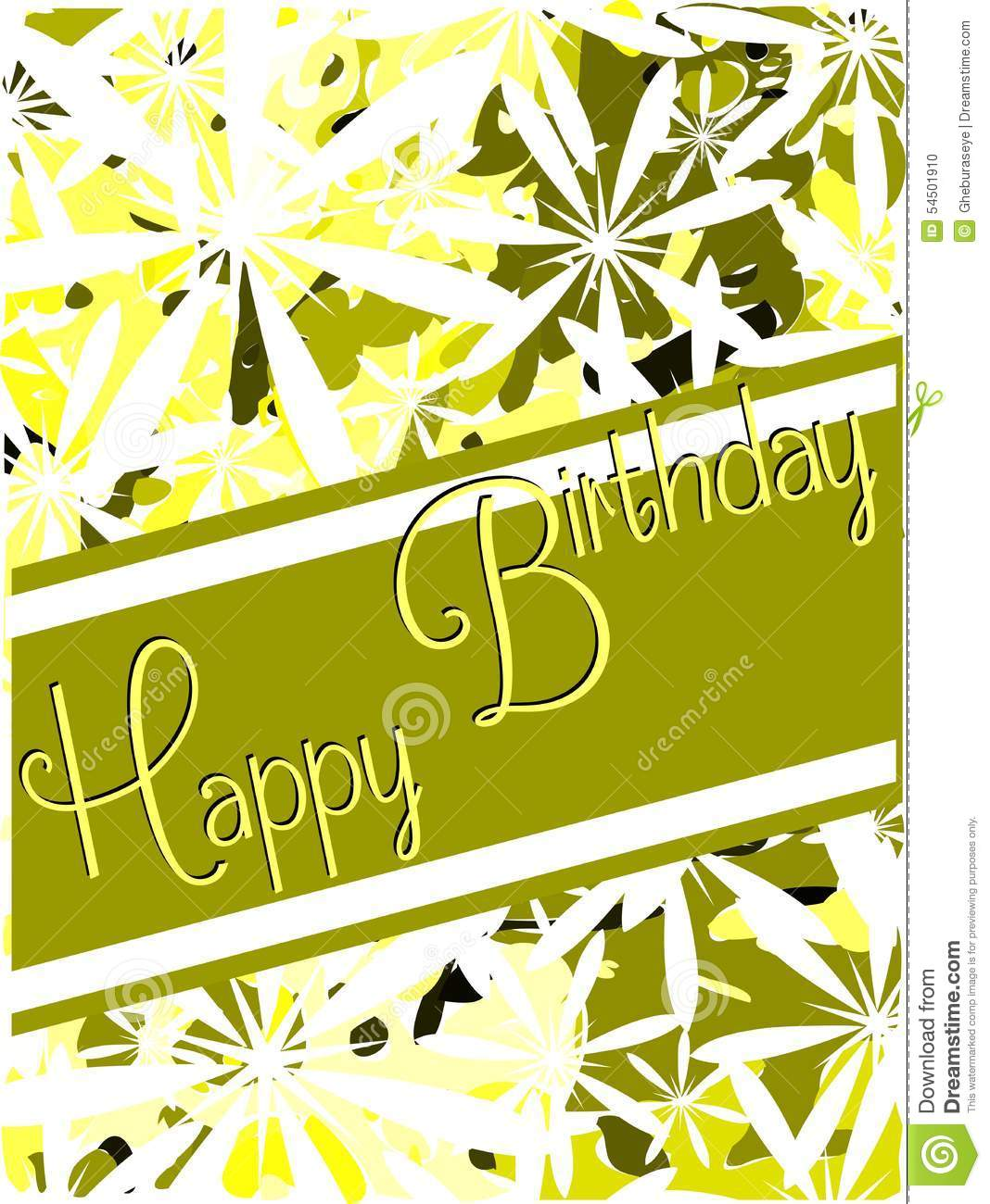 Happy Birthday Greeting Card With Flowers Stock Vector