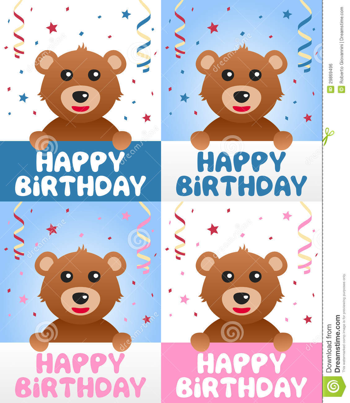 Happy Birthday Teddy Bear Stock Vector Illustration Of Greetings
