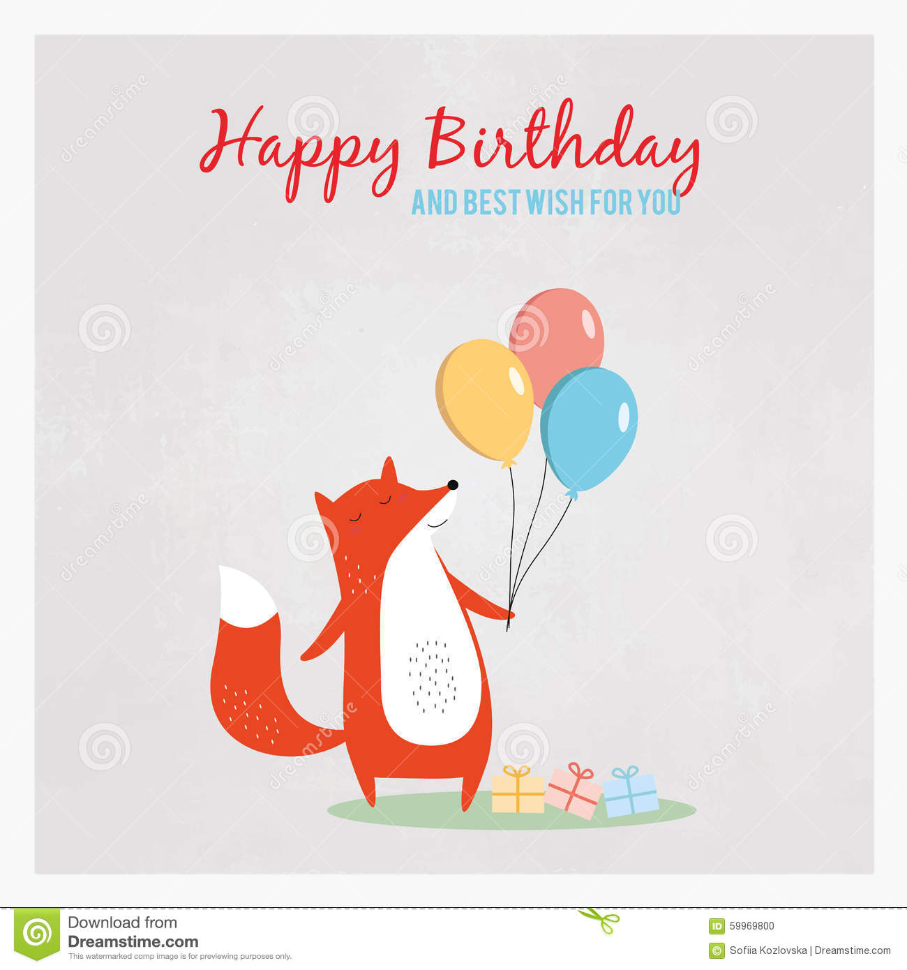 Happy Birthday Greeting Card With A Fox Holding Balloons Stock
