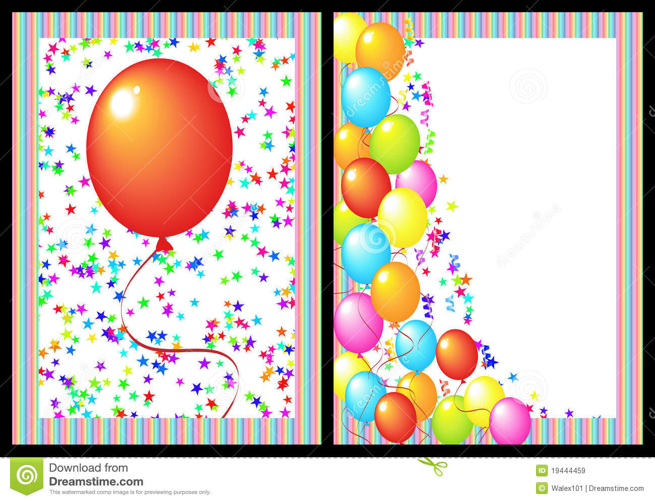 Happy Birthday Greeting Card Front And Back Stock Illustration
