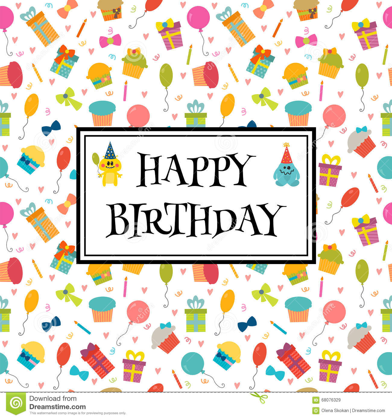Happy Birthday Greeting Card With Funny Monsters Cute Birthday – Cute Birthday Greeting Cards