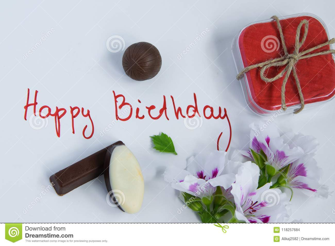 Happy Birthday Greeting Card With Gift Box Fresh Flowers And