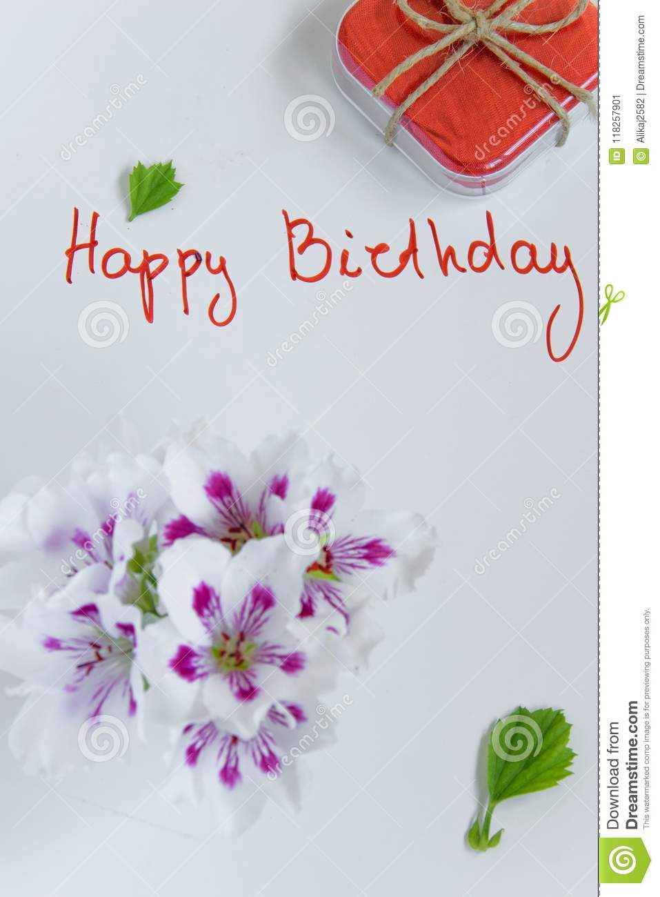 Happy Birthday Greeting Card With Gift Box And Fresh Flowers Stock