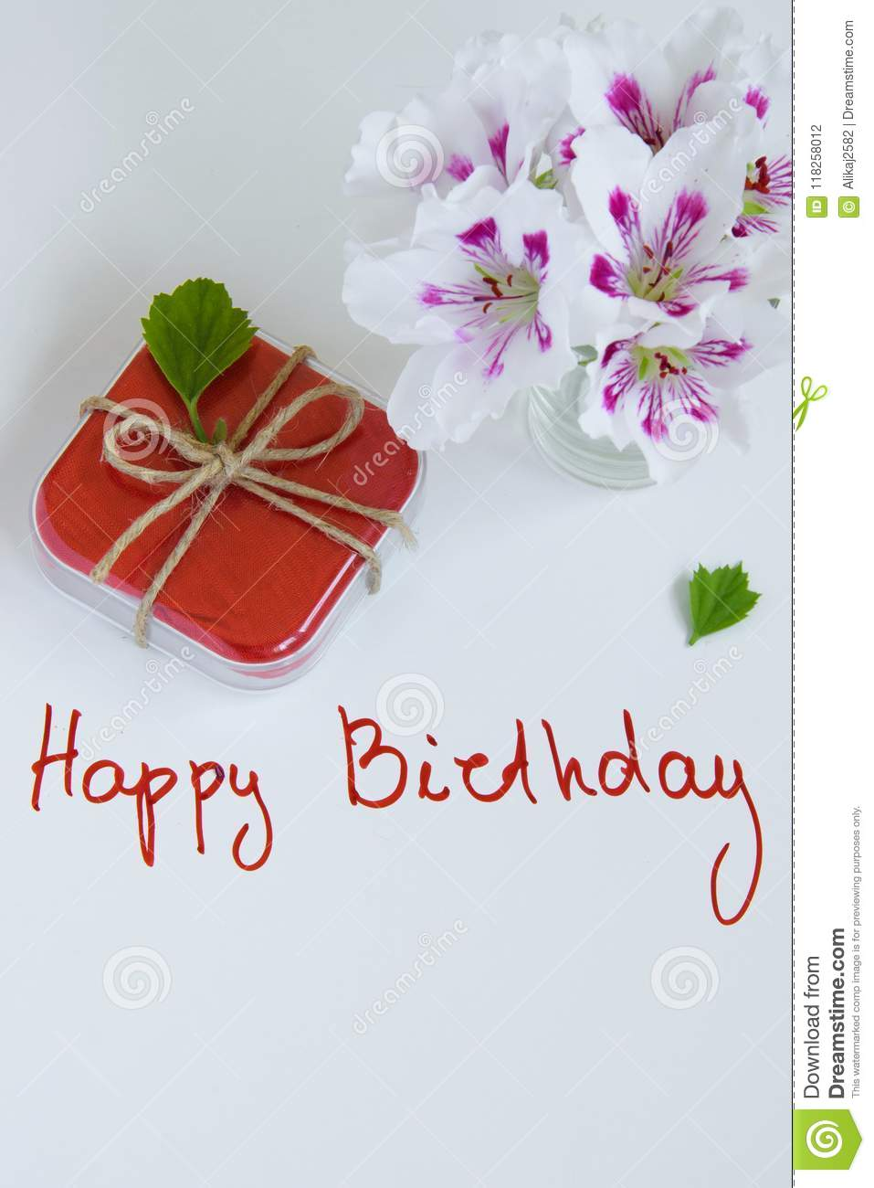 Happy Birthday Greeting Card With Gift Box And Fresh Flowers