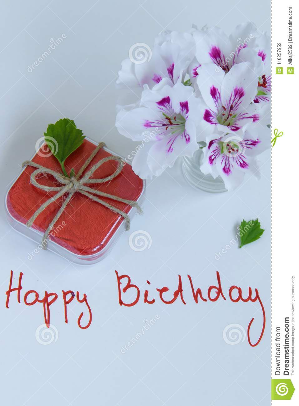 Happy birthday greeting card with gift box and fresh flowers stock download happy birthday greeting card with gift box and fresh flowers stock photo image of izmirmasajfo