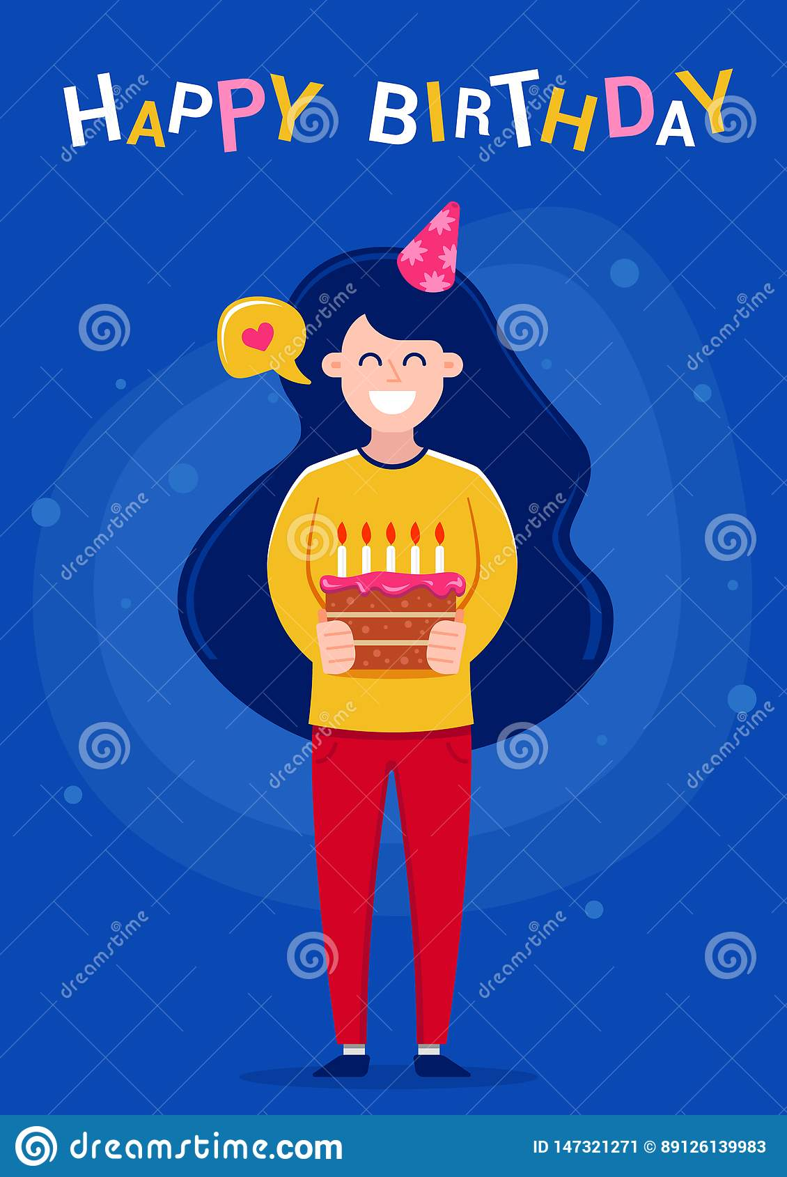 Happy Birthday greeting card. Girl holding a cake with candles.