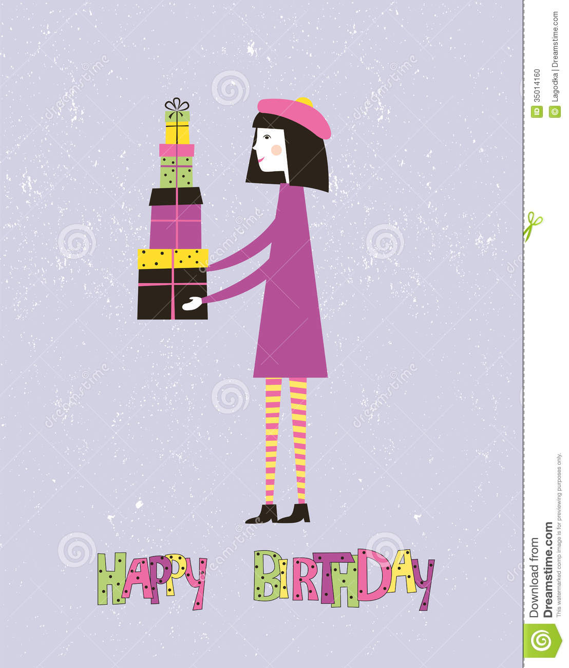 Happy Birthday Greeting Card With A Girl Vector Stock Vector