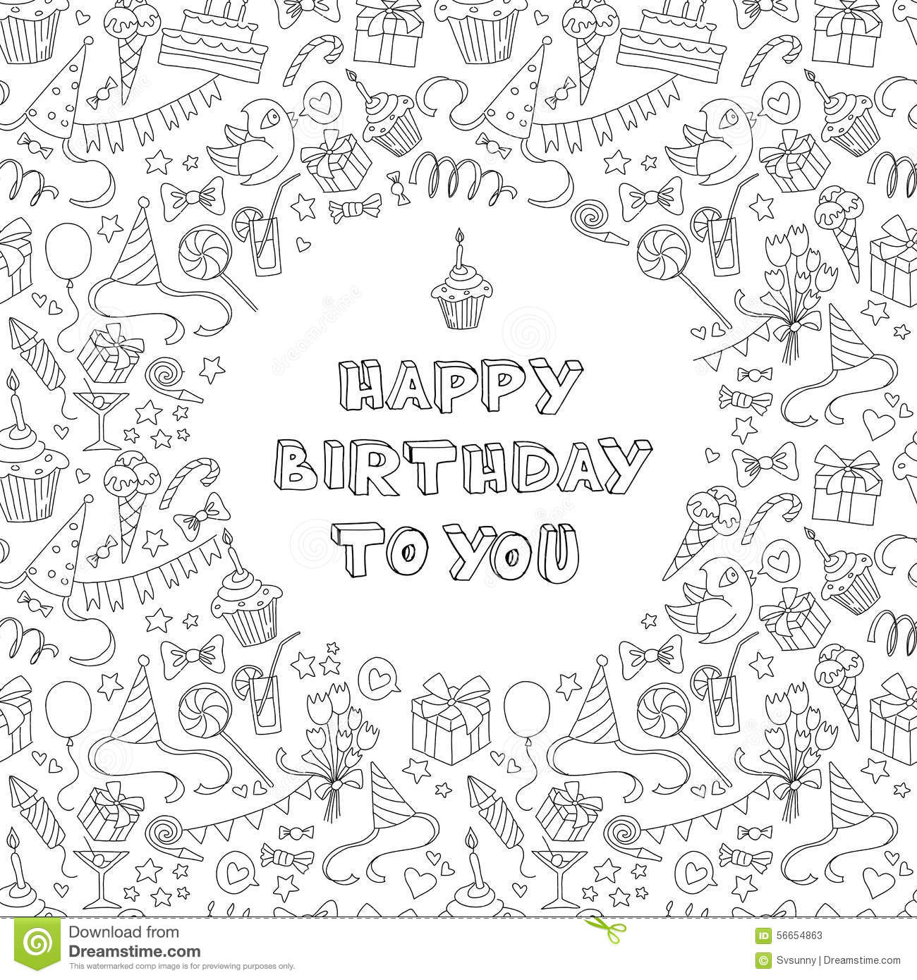 Happy birthday greeting card with hand drawm pattern and letter happy birthday greeting card with hand drawm pattern and letter kristyandbryce Image collections
