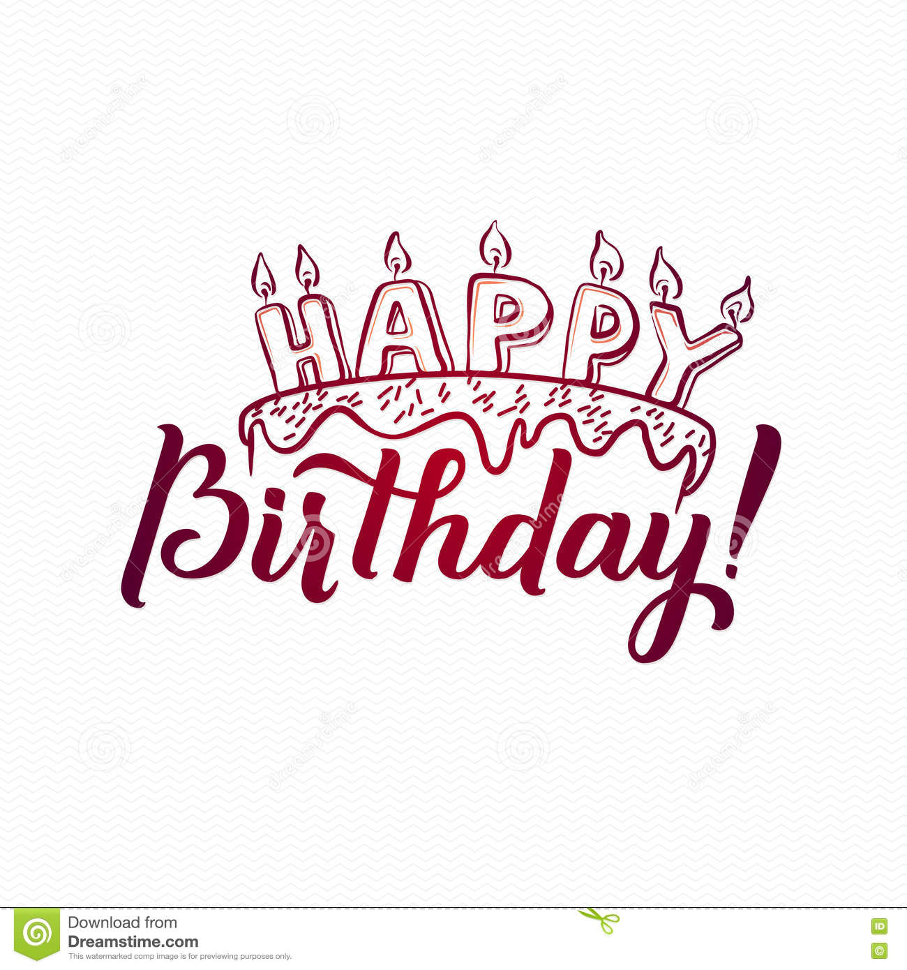 Stock Vector: Happy Birthday Greeting Card. Hand Lettering - handmade ...