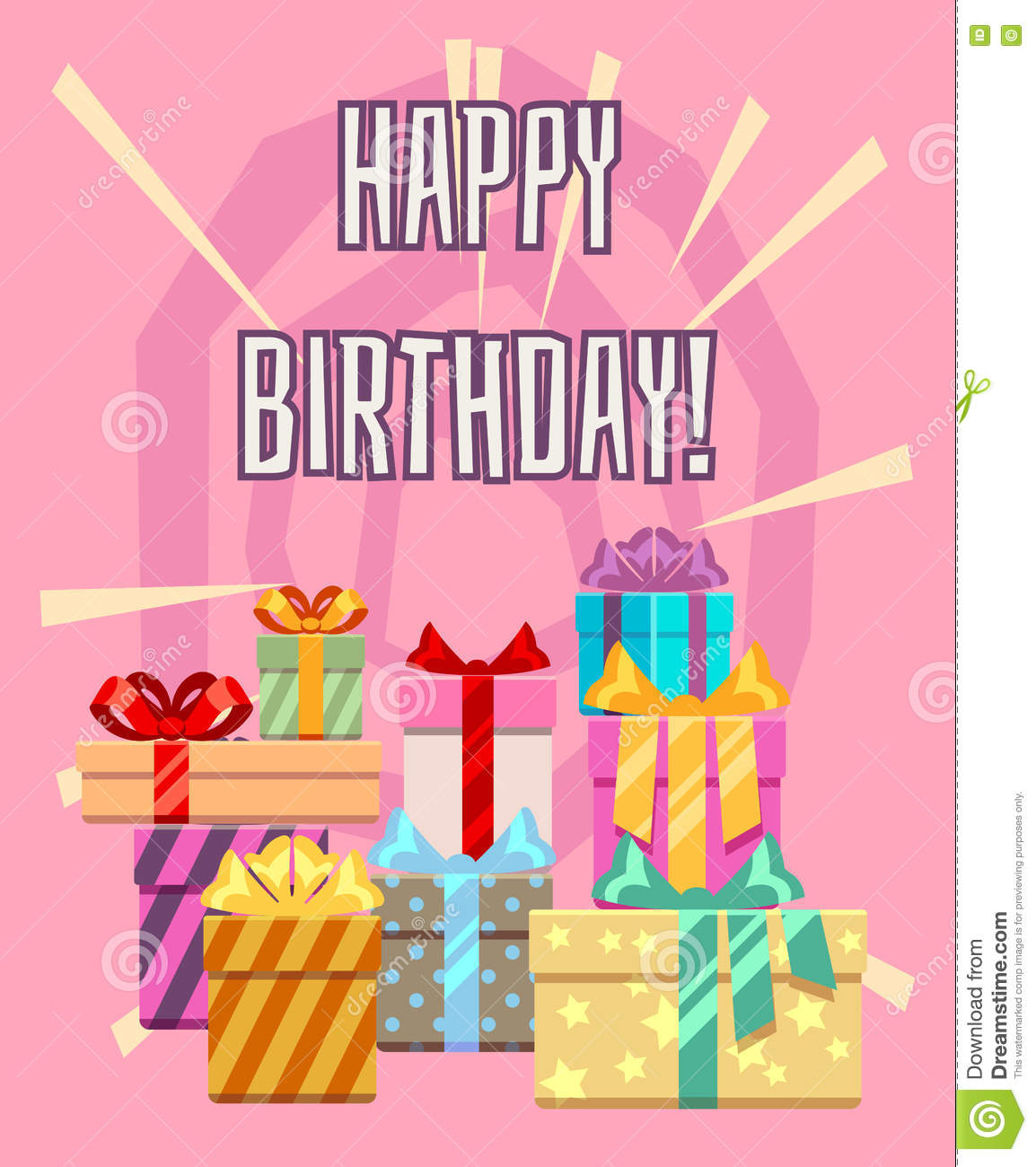 Happy birthday greeting card with a heap of gift boxes