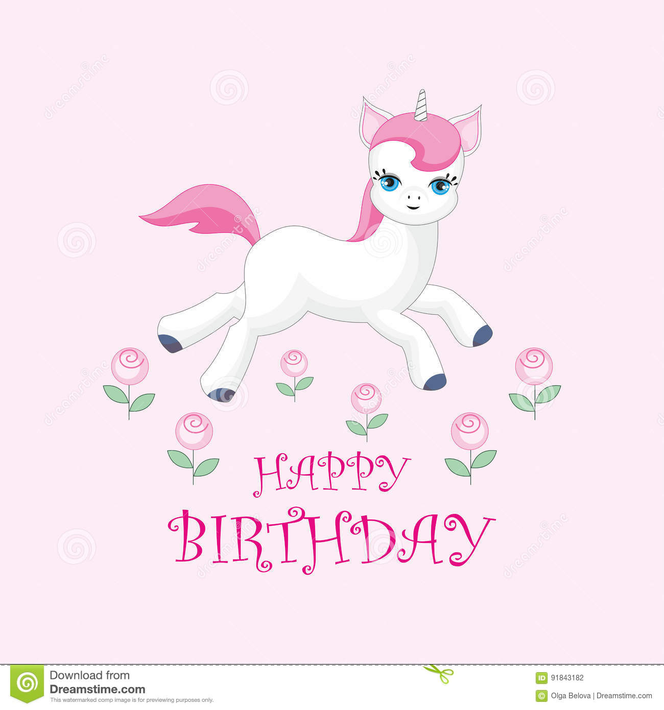 Happy Birthday Greeting Card With The Image Of Cute Unicorn Colorful Vector Illustration