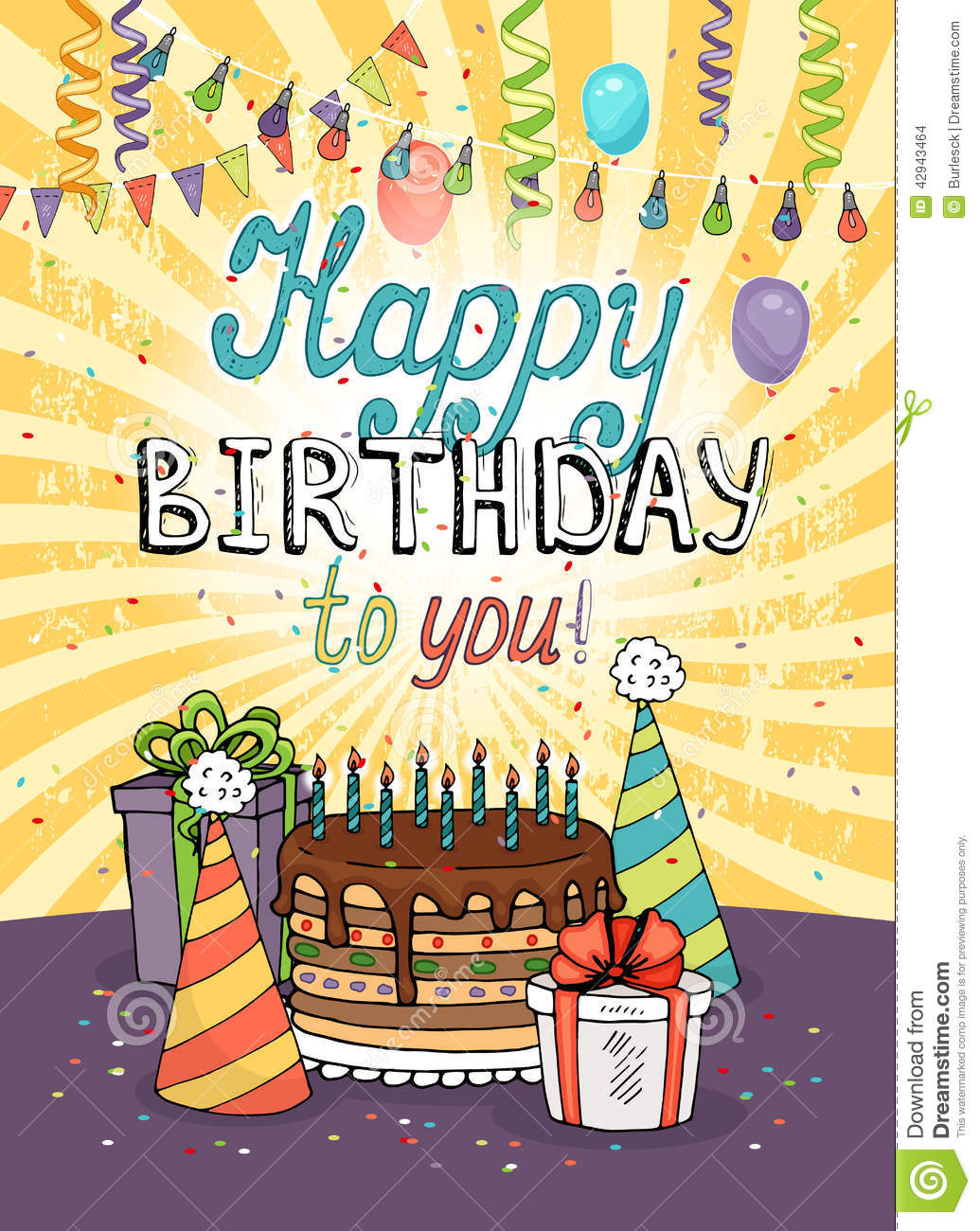 Happy birthday greeting card or invitation stock vector happy birthday greeting card or invitation kristyandbryce Image collections