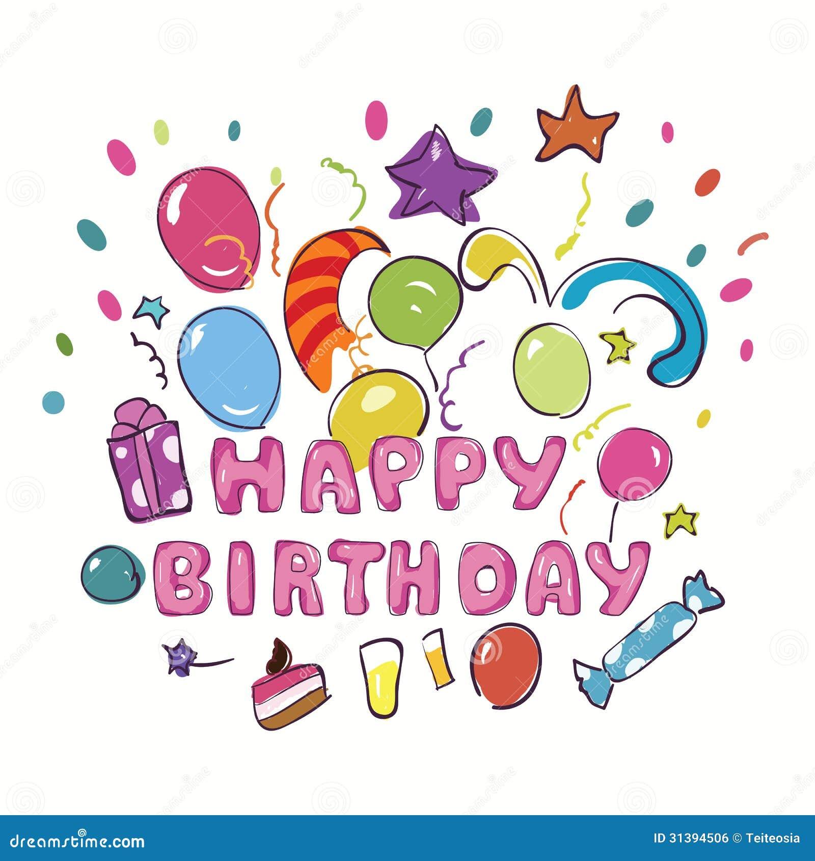 Happy Birthday Greeting Card Stock Vector Illustration Of Hand