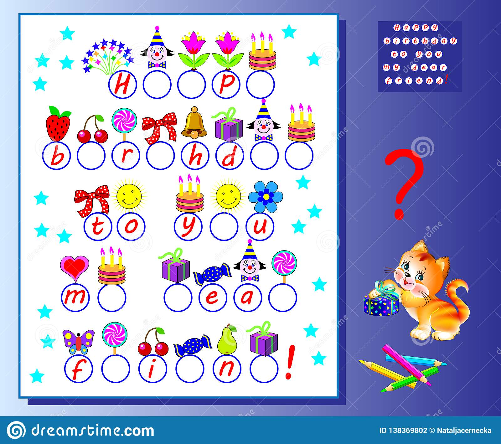 Happy Birthday Greeting Card. Logic Puzzle Game For Kids ...