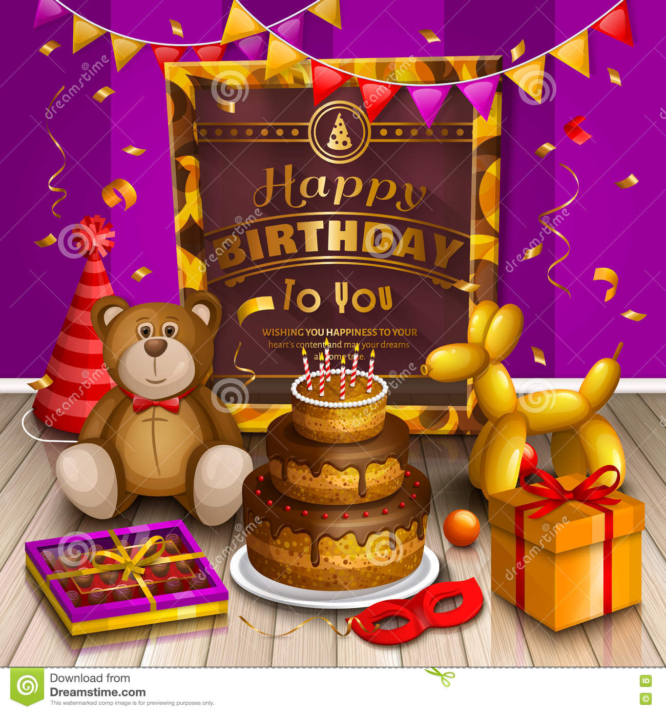 Happy Birthday Greeting Card Lots Of Presents And Toys Party Hats