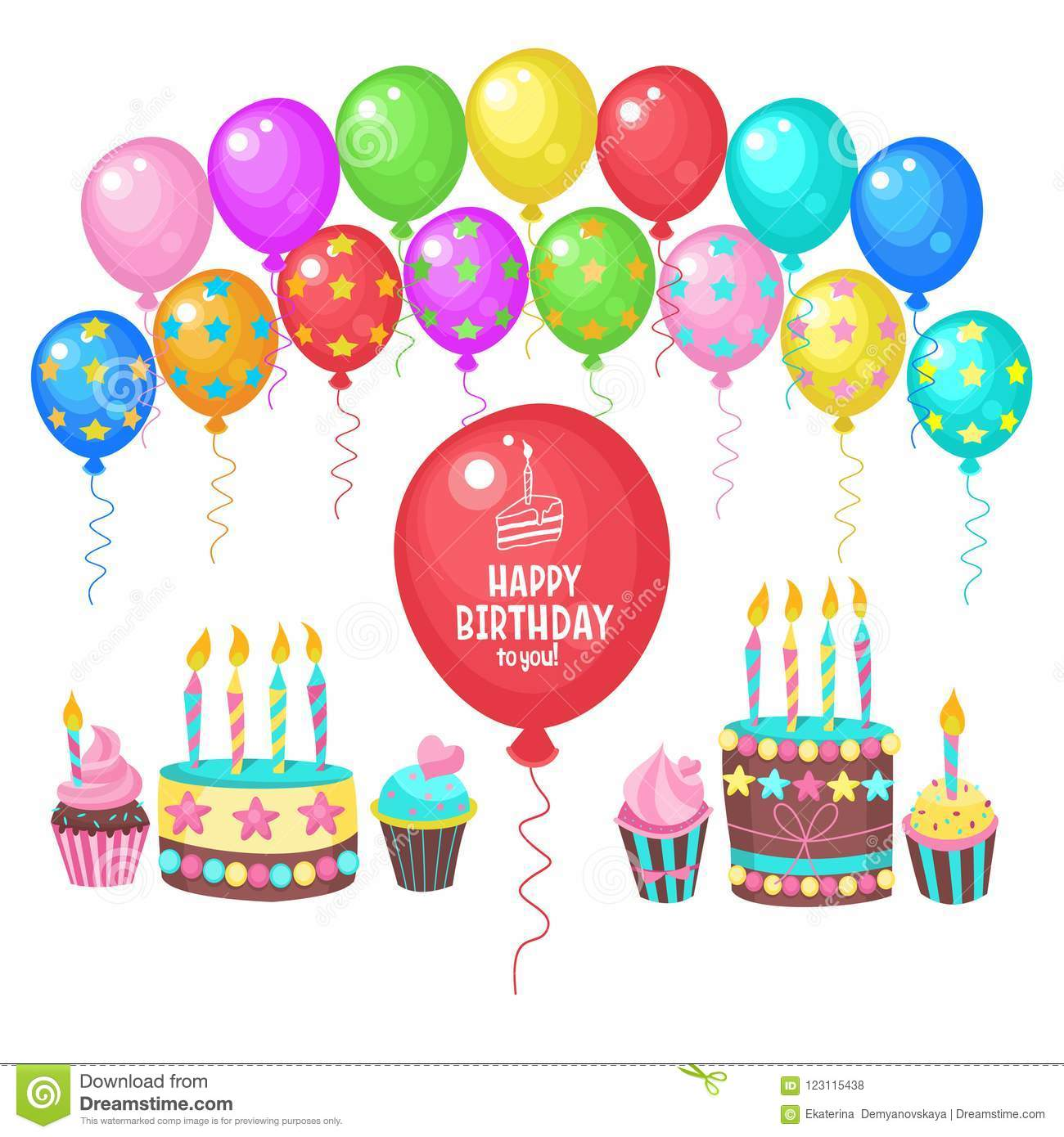 Happy BirthdayGreeting Card Many Colorful Balloons Birthday Cakes With Candles