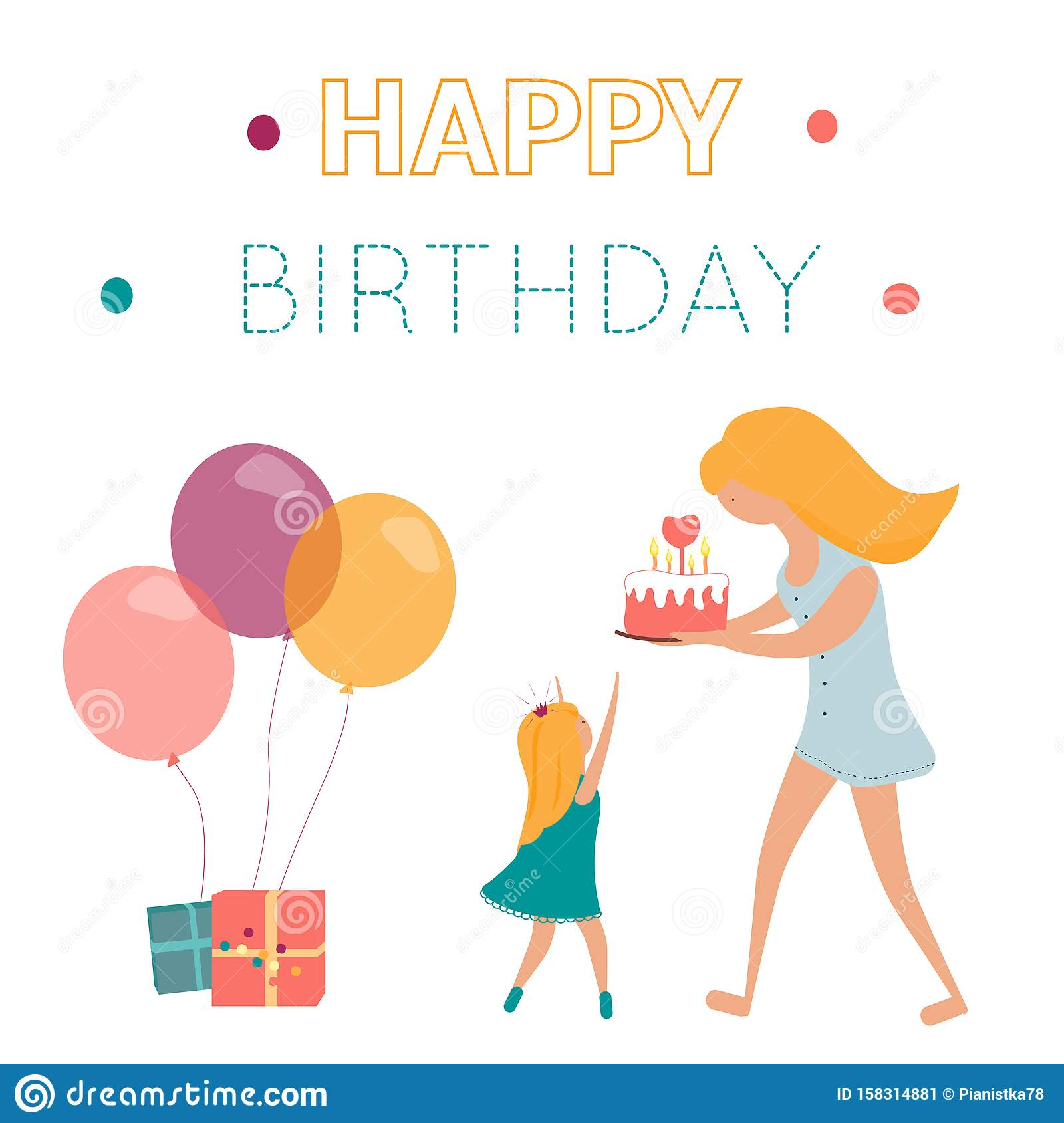 Super Happy Birthday Greeting Card With Mom Doughter Cake And Gifts Personalised Birthday Cards Bromeletsinfo