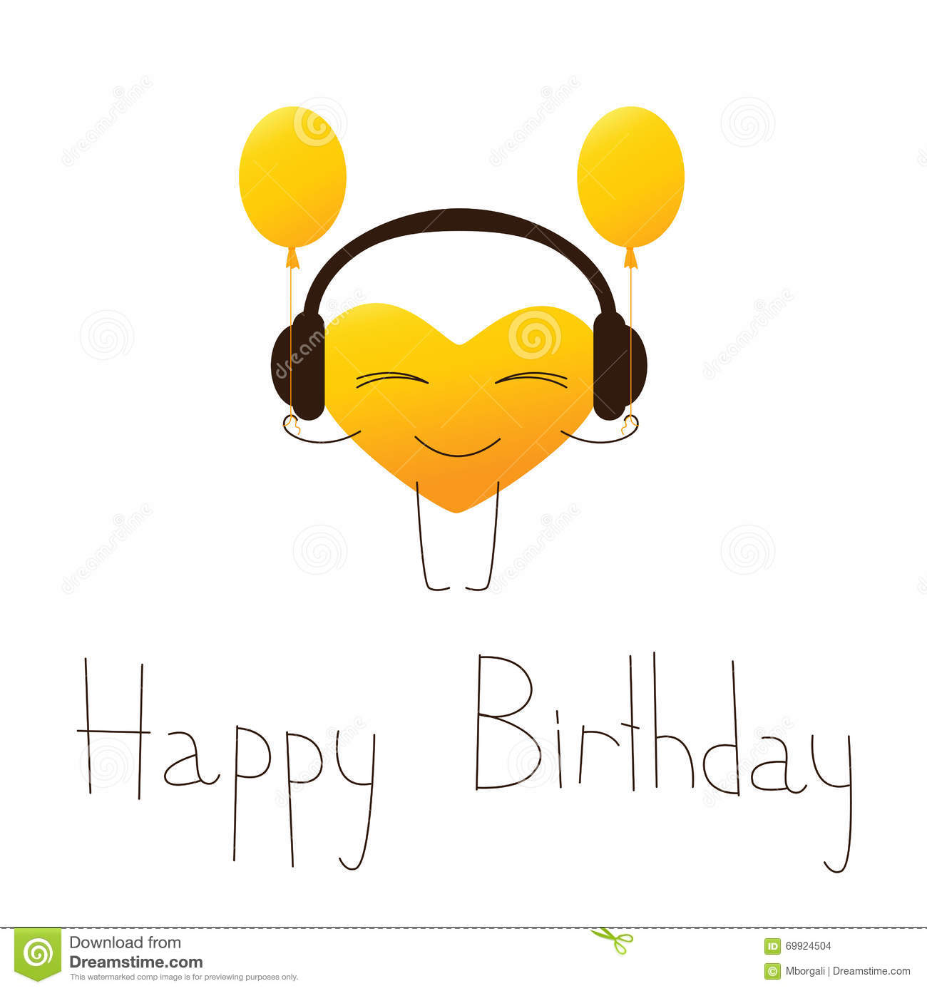 Cartoon Heart Character In Headphones With Balloons And Lettering Happy Birthday English Isolated On White Background Design Element Greeting Card