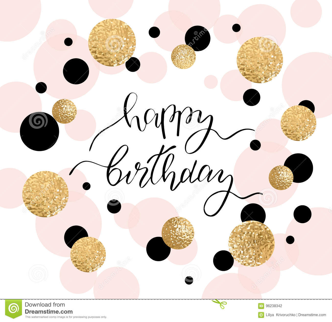 Happy birthday greeting card and party invitation template. Vector illustration.