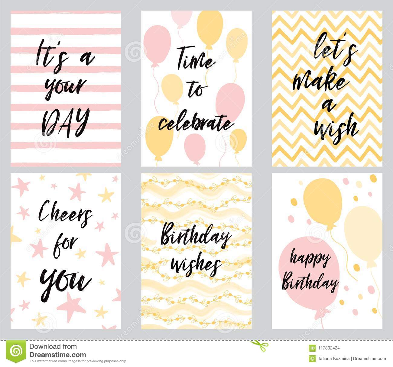 Happy Birthday Greeting Card And Party Invitation Templates Vector Illustration Hand Drawn Style In Light Pink Yellow Colors Cute Phrases Quotes