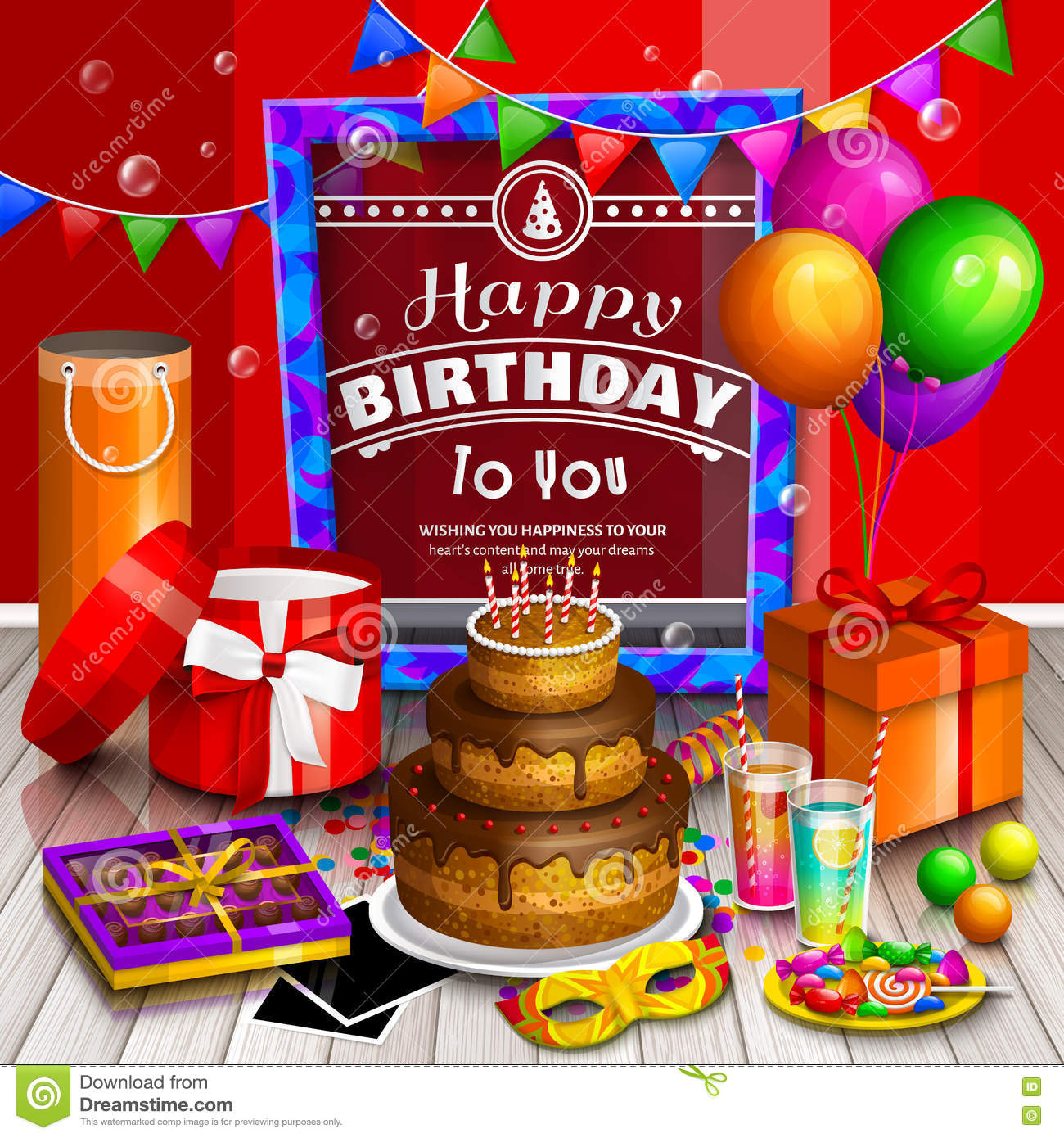 Happy Birthday Greeting Card Pile Of Colorful Wrapped Gift Boxes