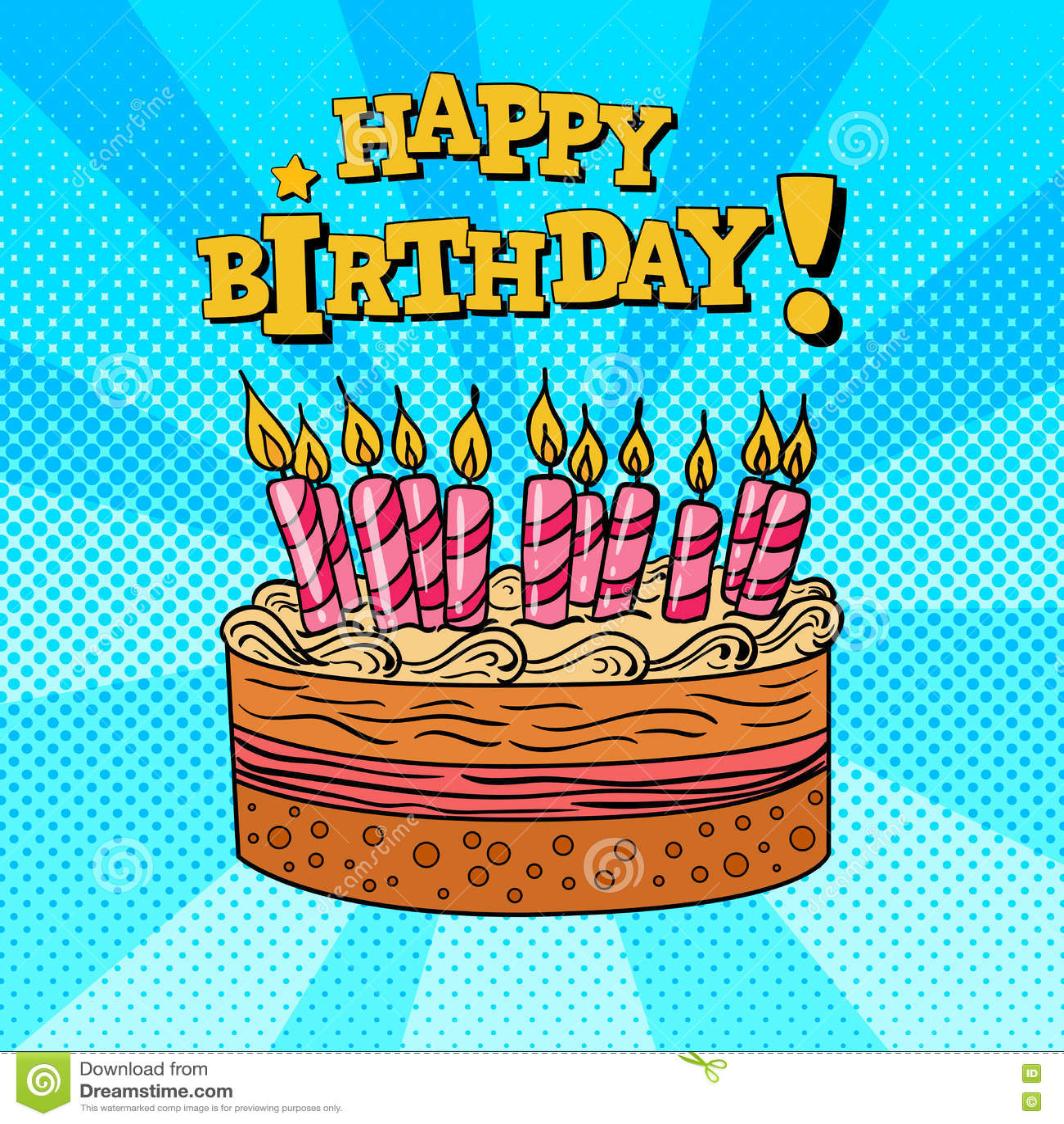 Happy Birthday Greeting Card Pop Art Stock Vector
