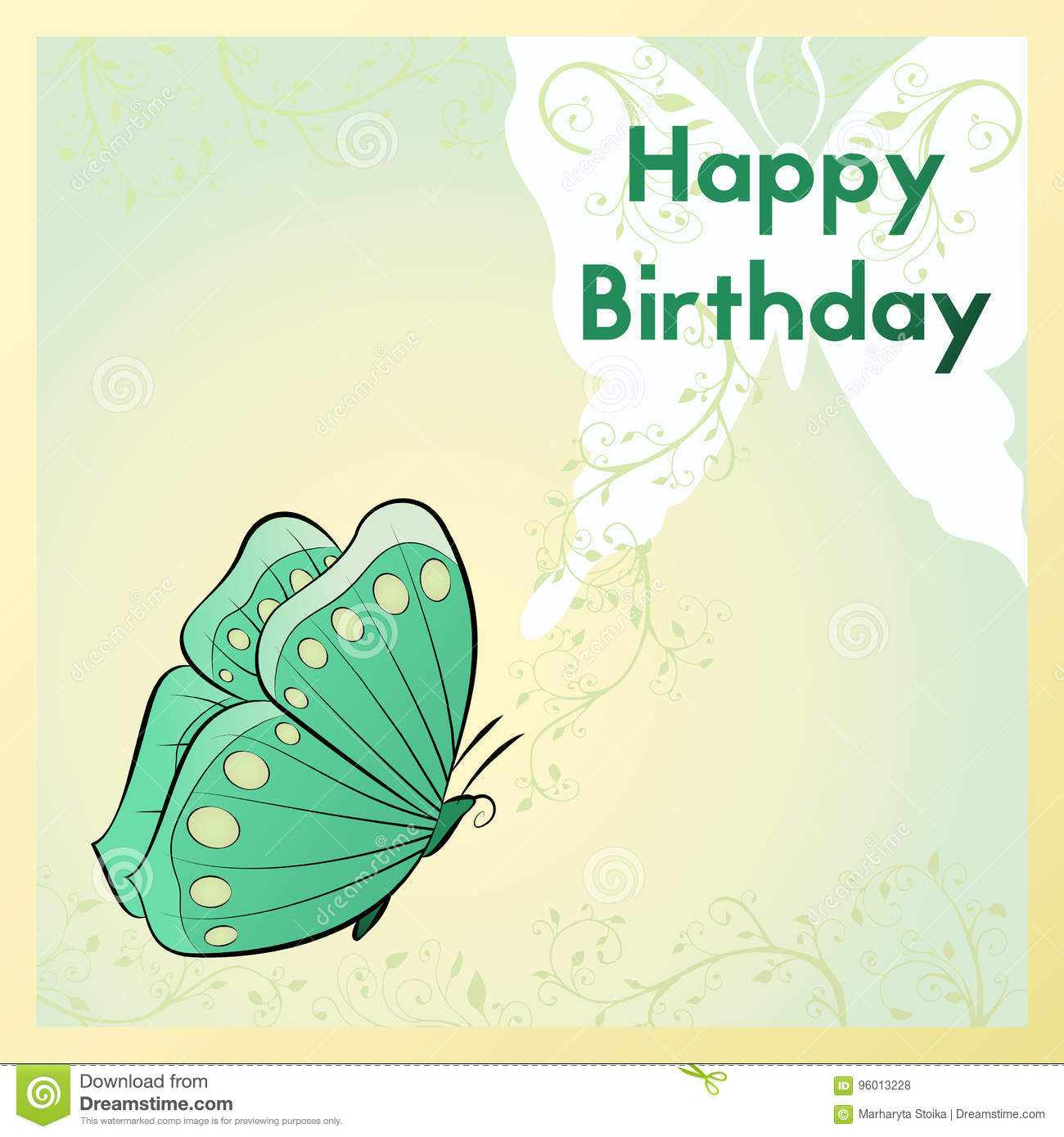 Happy Birthday Greeting Card The Postcard Is With A Butterfly And