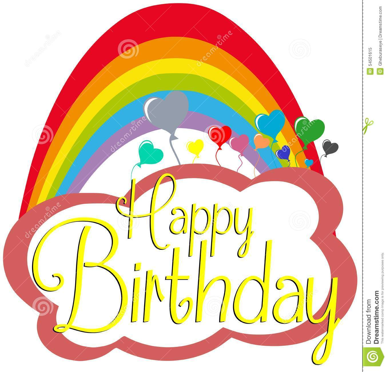 Happy Birthday Greeting Card With Rainbow Stock Vector ...