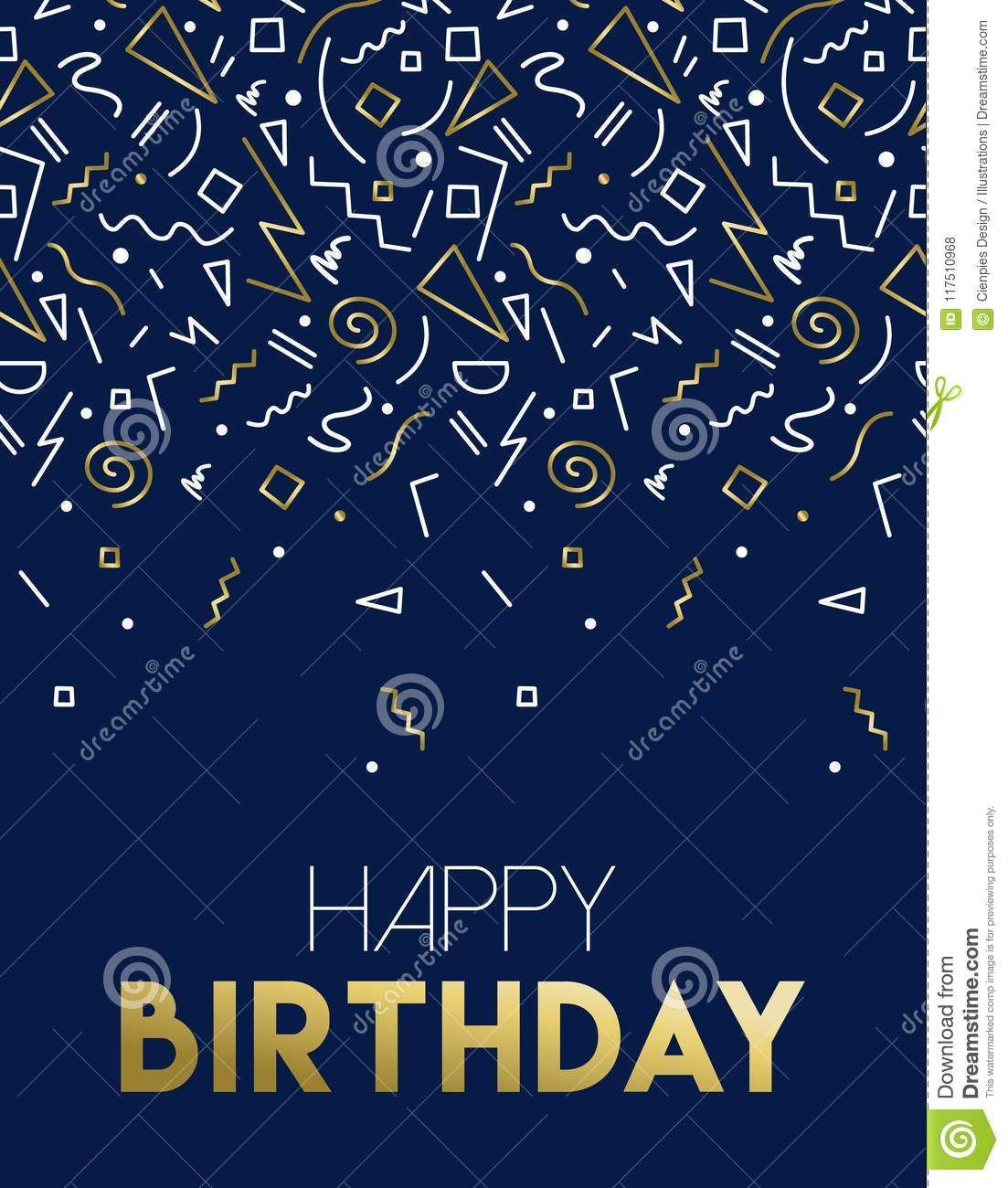 Happy Birthday Card With Gold Party Decoration Stock Vector