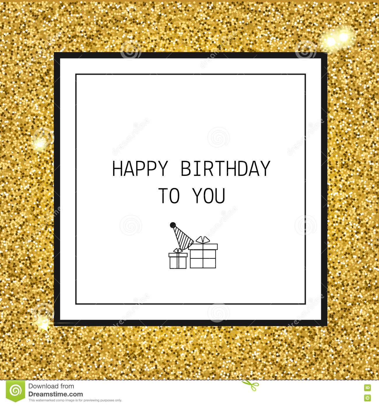 Happy Birthday Greeting Card With Ribbons And Line Icons Stock