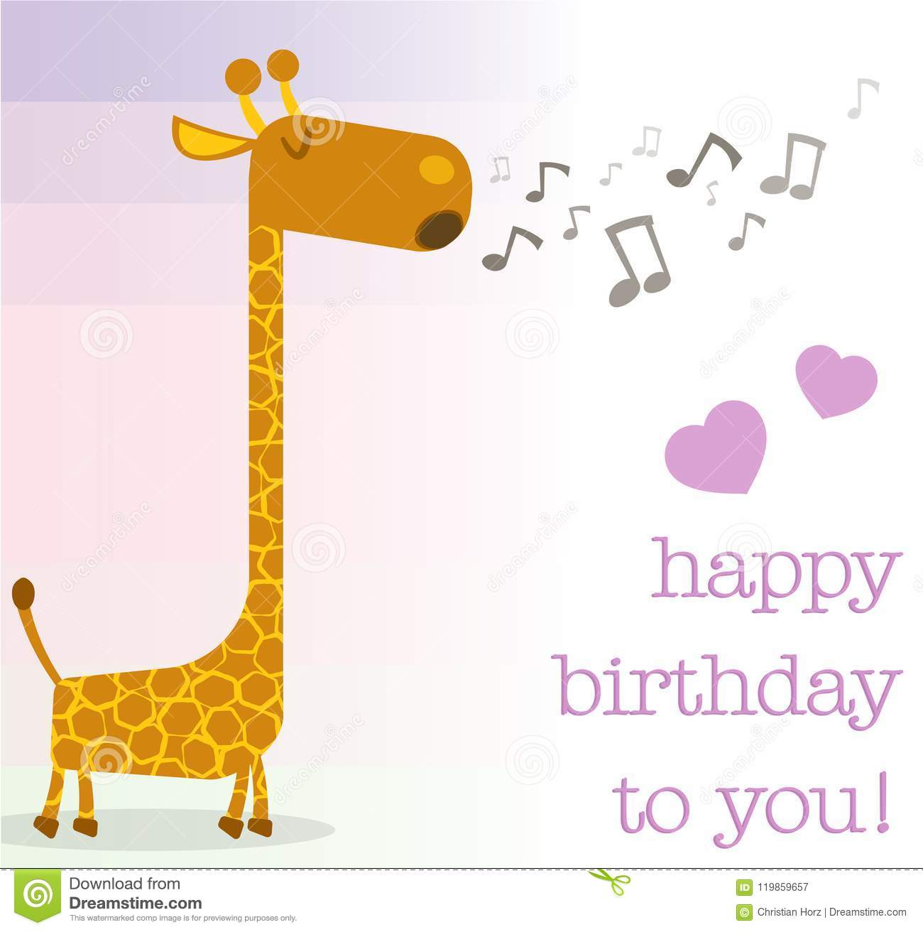 Happy Birthday Greeting Card With Singing Giraffe Stock Vector