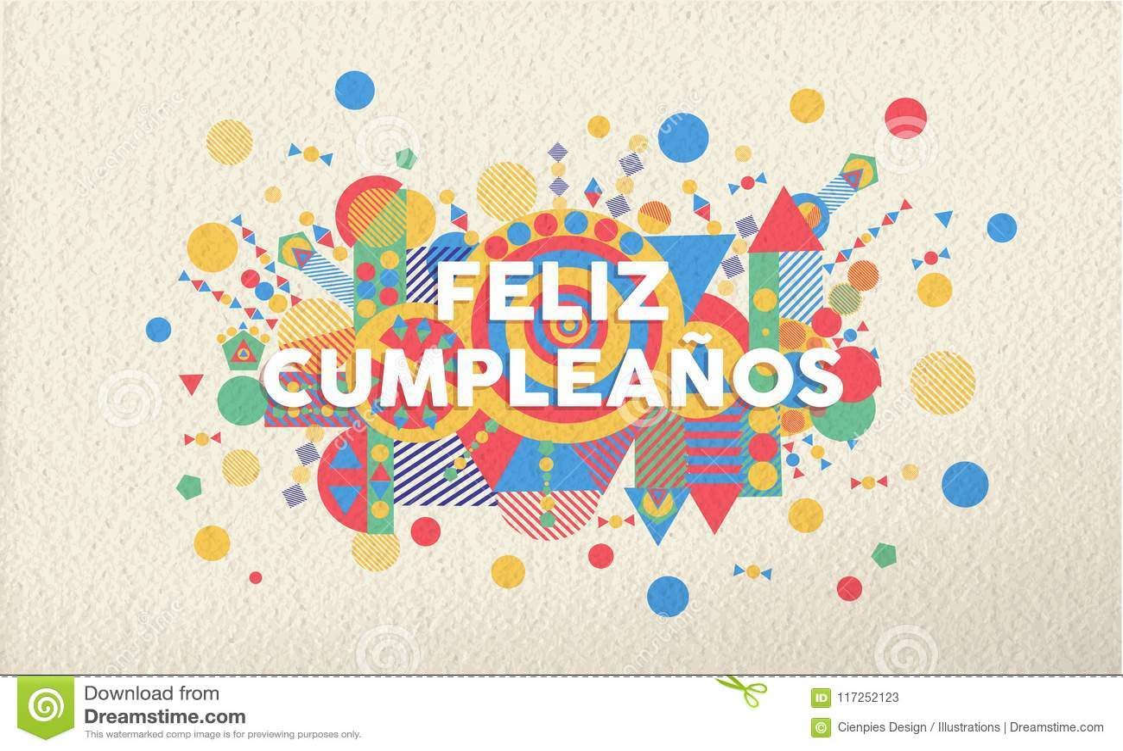 Happy Birthday Greeting Card In Spanish Language Stock Vector
