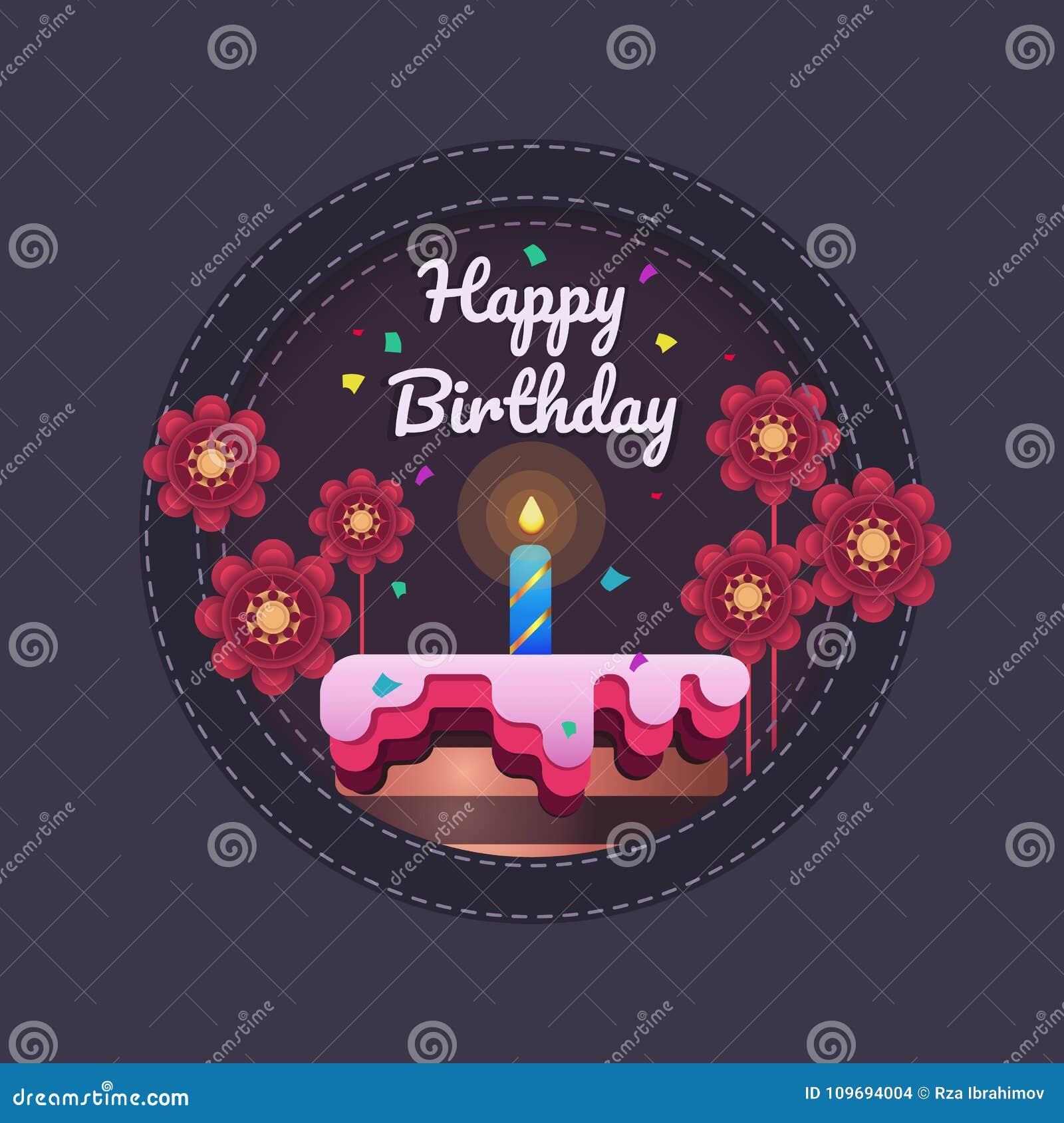 Happy Birthday Greeting Card Template Design Stock Vector