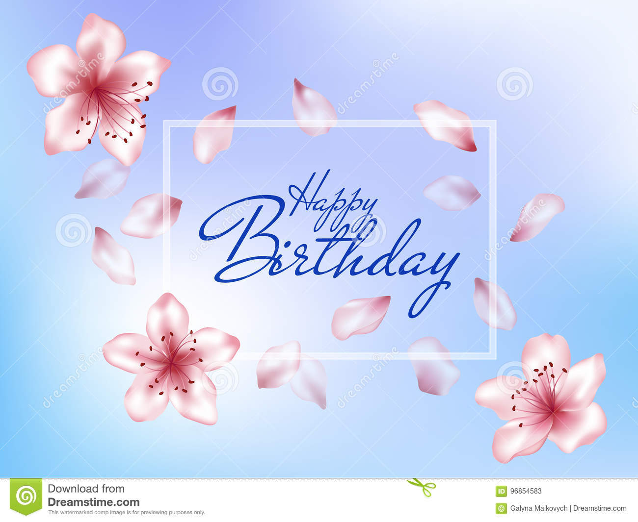 Happy Birthday Greeting Card Stock Vector Illustration Of Detailed