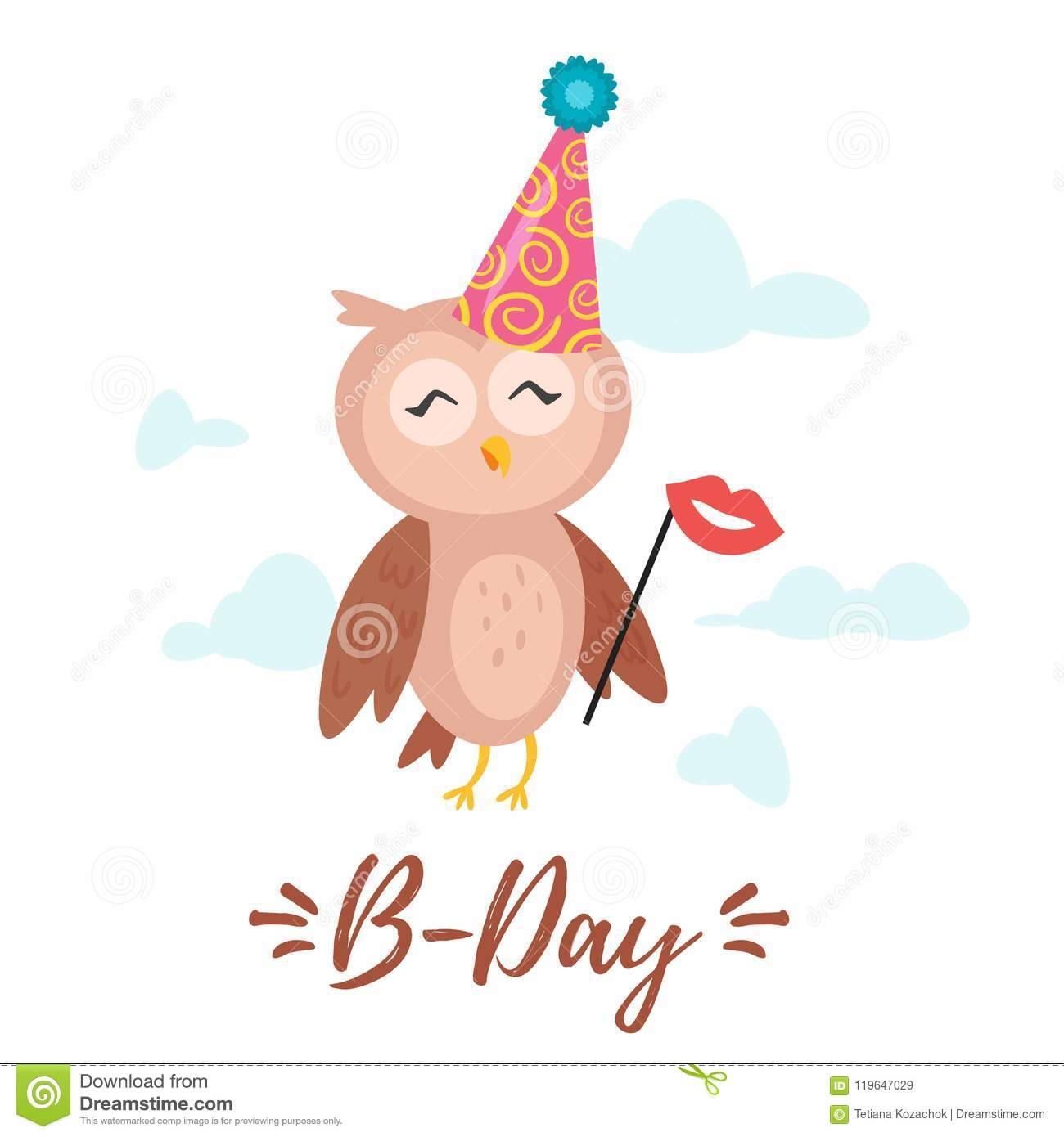 Happy Birthday Greeting Card Template Stock Vector Illustration Of