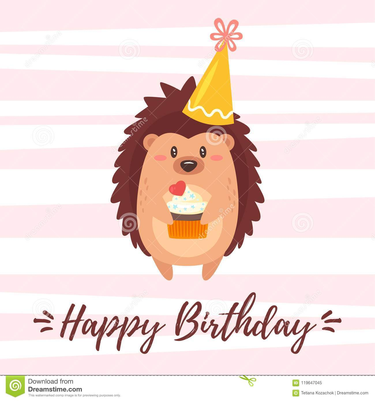 Happy Birthday Greeting Card Template Stock Vector
