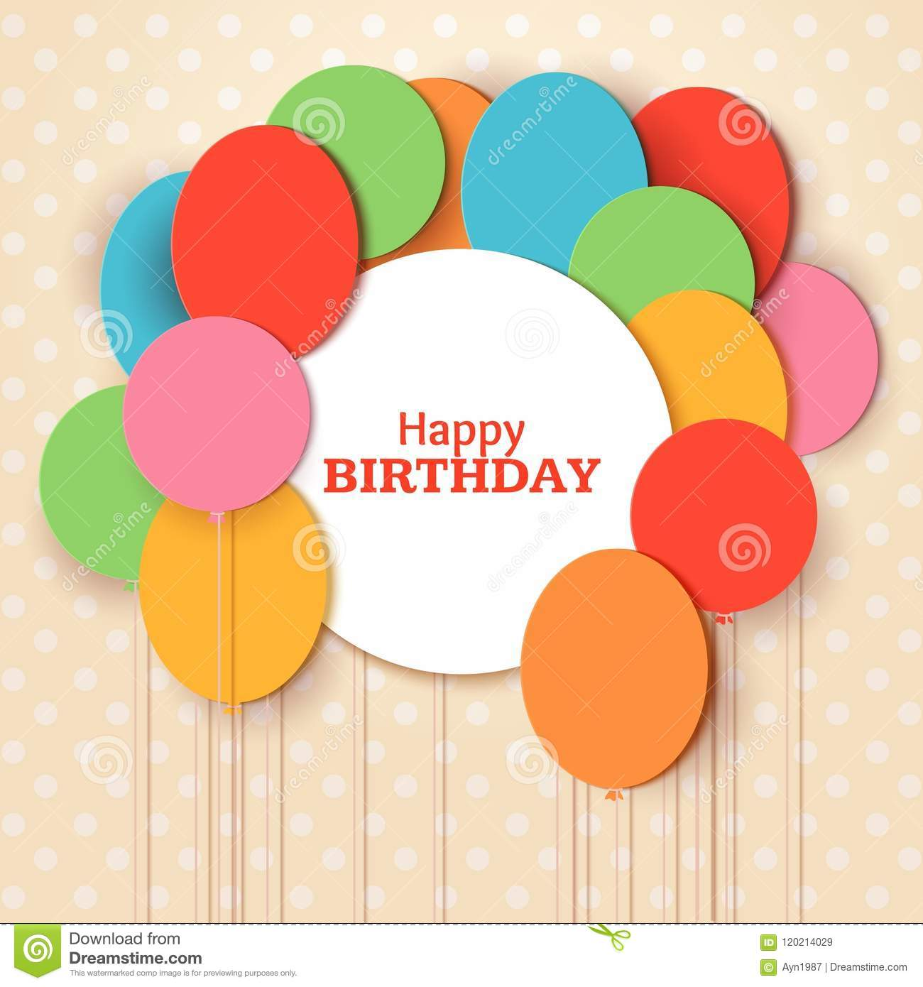 Happy Birthday greeting card template with white round frame. Flying paper cut balloons on blue background. Vector