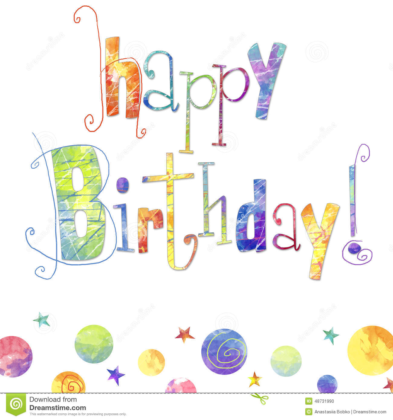 Happy Birthday Greeting Card With Text Drops And Stars In Bright