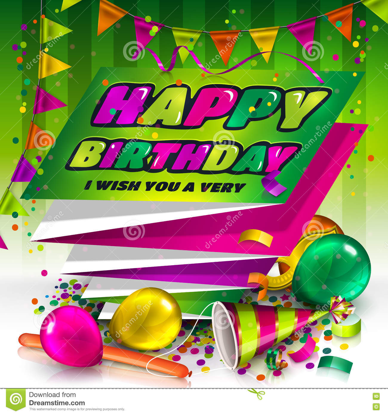 Happy birthday greeting card. Text on folded harmonica paper. Colorful balloons, hat, carnival mask, confetti and