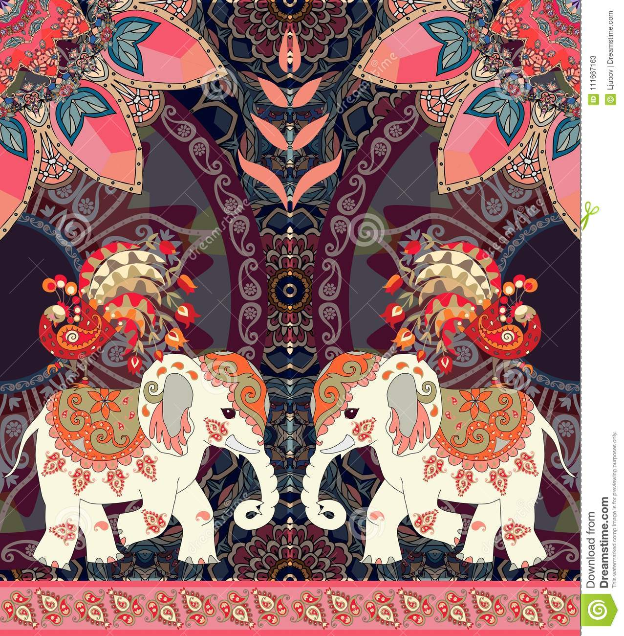 Happy Birthday Greeting Card In Thai Or Indian Style Lovely