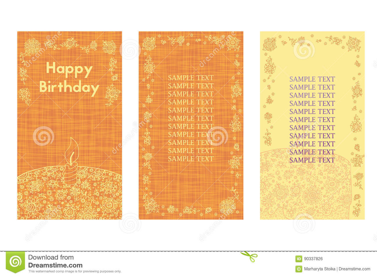 Happy Birthday Greeting Card Three Different Vector Patterns