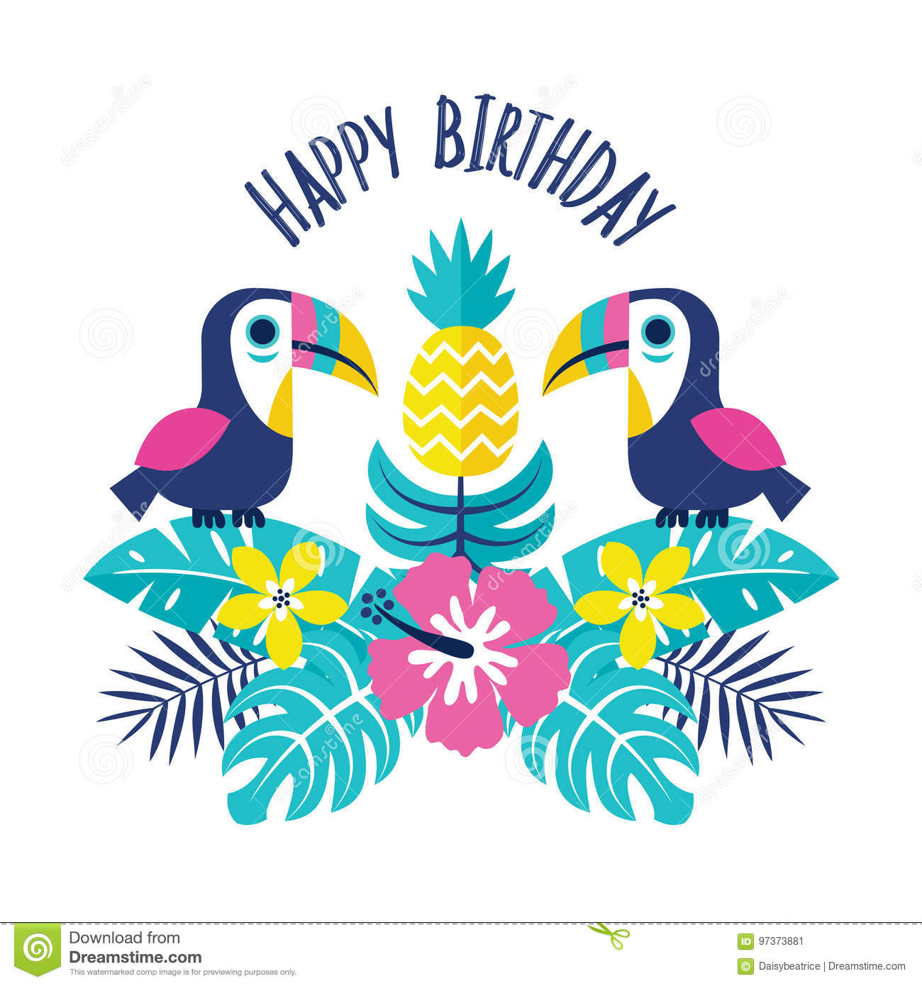 Happy Birthday Greeting Card Toucans Pineapple Pink Stock