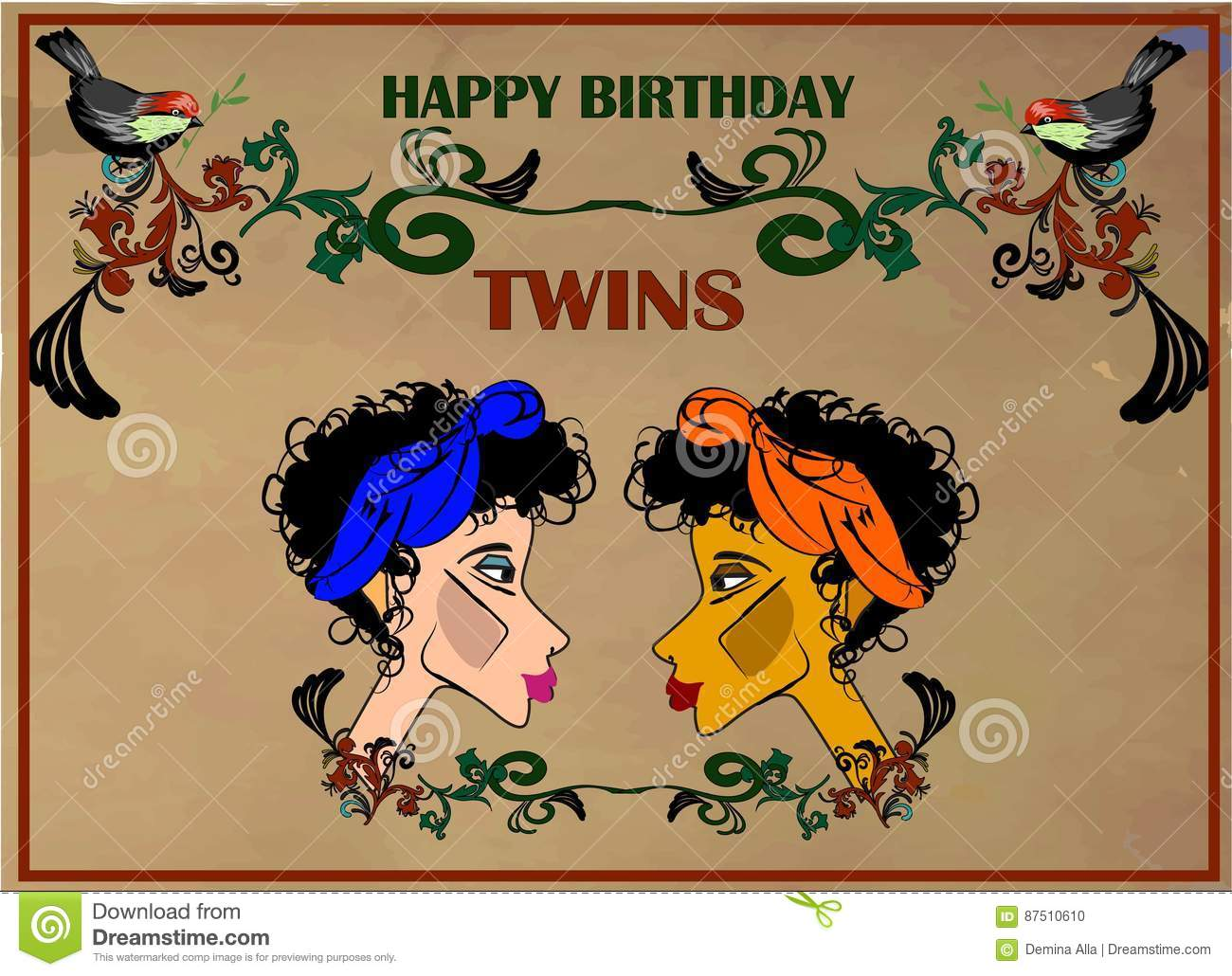 Happy birthday greeting card for twins stock vector illustration happy birthday greeting card for twins kristyandbryce Gallery
