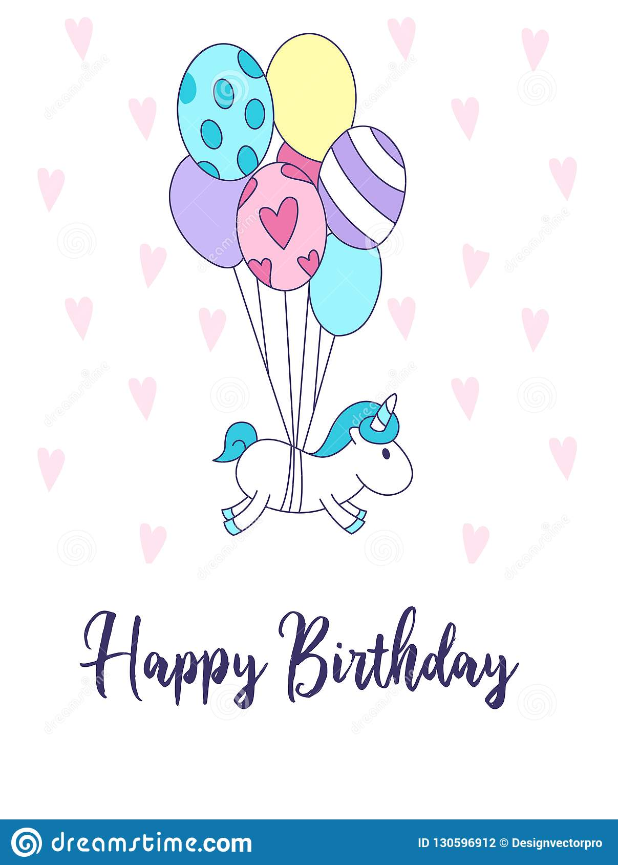 Happy Birthday Greeting Card With Unicorn And Cute Balloons Vector Illustration
