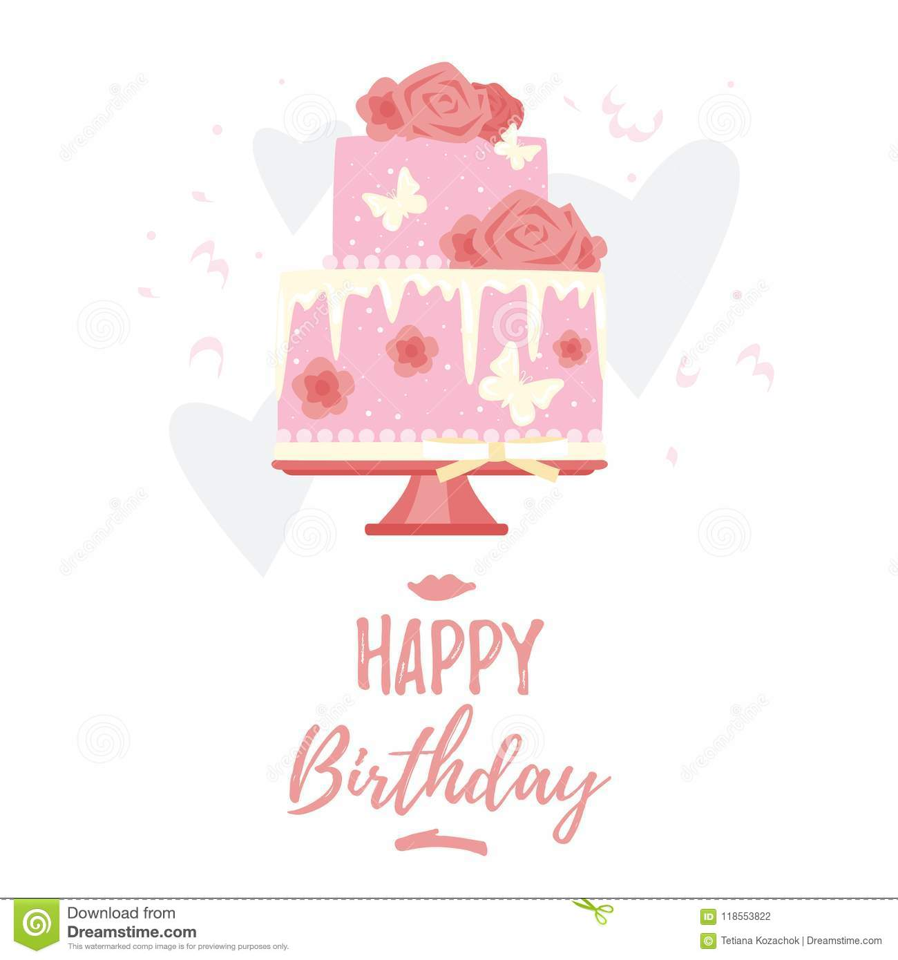 Vector Cartoon Style Illustration Of Birthday Cake For Woman Isolated On White Background Template Postcard Print