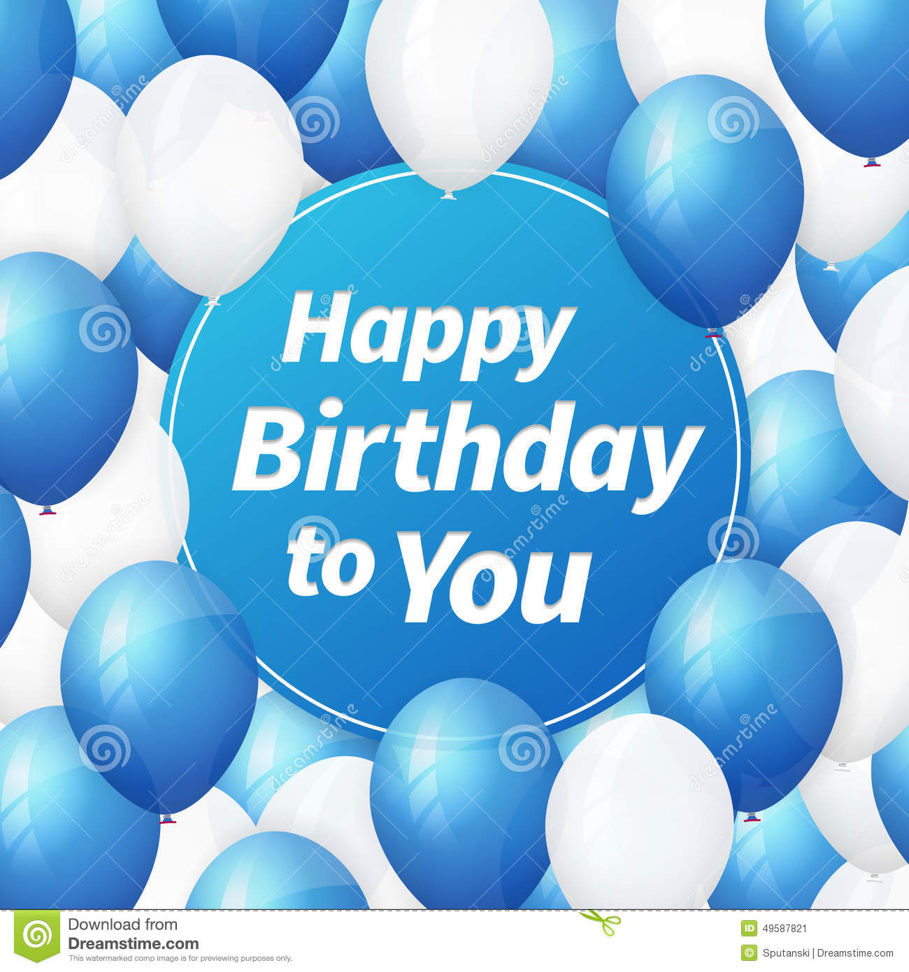 Happy Birthday Greeting Card With White And Blue Balloons Stock