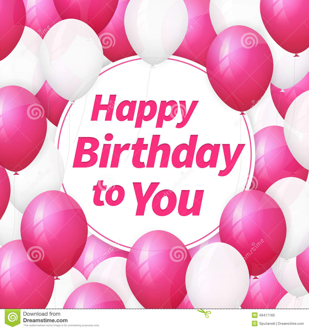 Happy Birthday Greeting Card With White And Pink Balloons Stock
