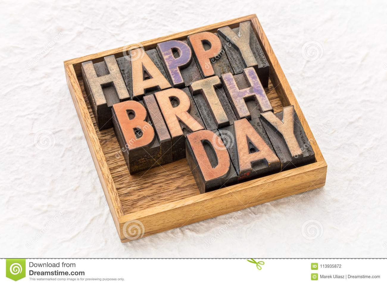 Happy Birthday Greeting Card In Wood Type Stock Photo Image Of